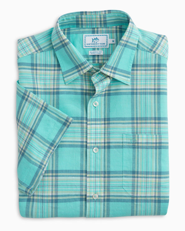 Image of Cockleshell Bay Plaid Short Sleeve Sport Shirt