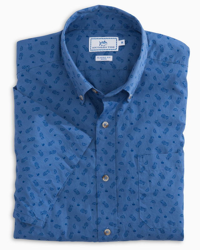 Island Vibes Print Short Sleeve Button Down | Southern Tide