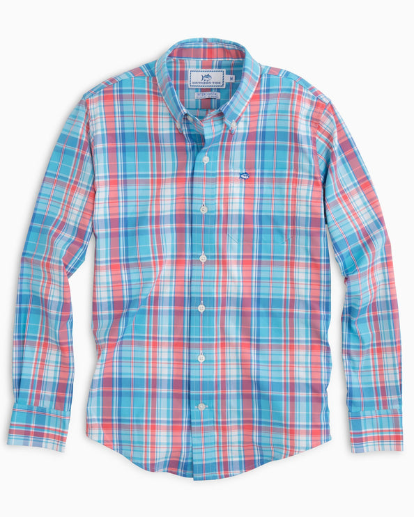 Image of Boys Bellevue Plaid Intercoastal Performance Shirt