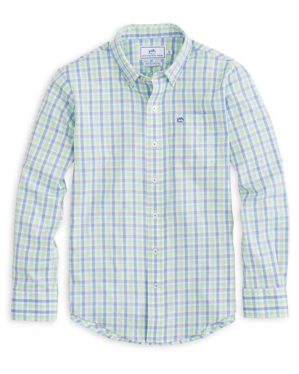 Image of Boys Market Square Gingham Intercoastal Performance Shirt