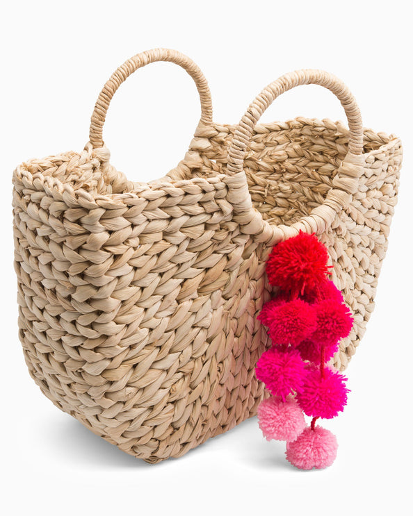 Round Handle Poms Tote