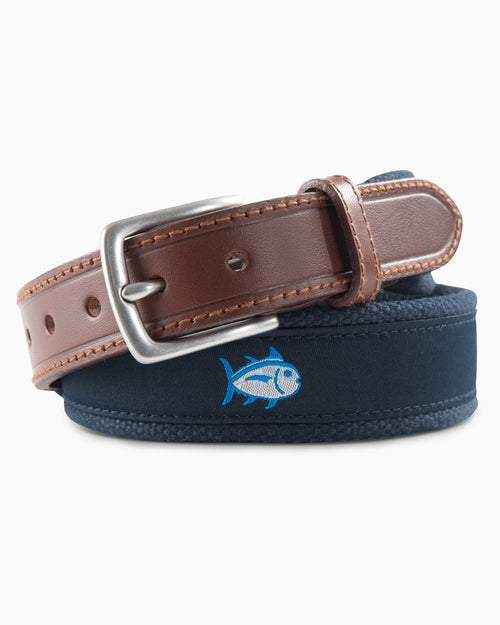 The front view of the Boys Skipjack Ribbon Belt by Southern Tide