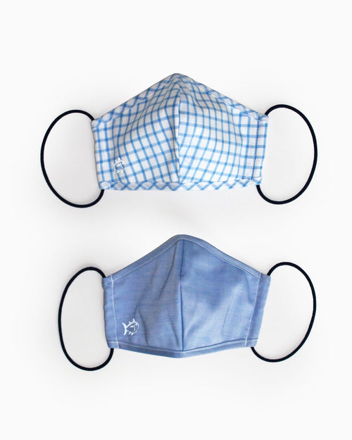 2-Pack Youth Blue Face Mask Cover | Southern Tide