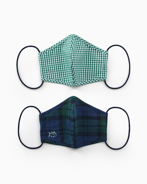 2-Pack Youth Green Holiday Mask Cover | Southern Tide