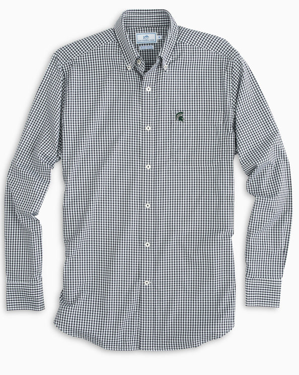 Michigan Spartans Gingham Button Down Shirt