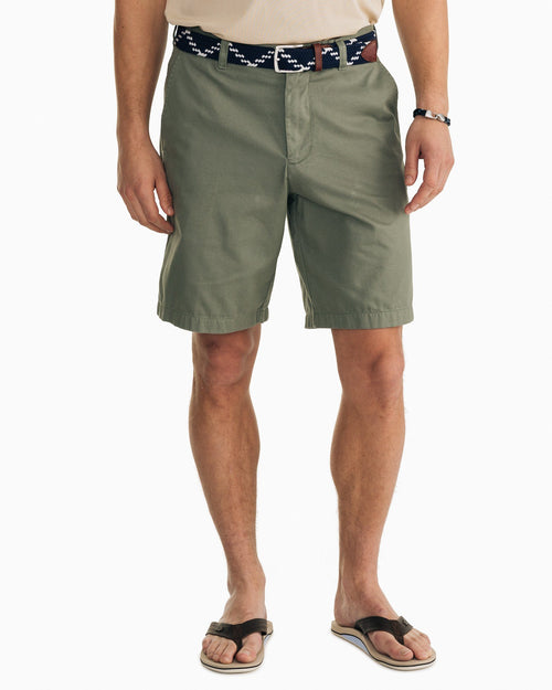 The front view of the Men's Green Skipjack 9 Inch Short by Southern Tide