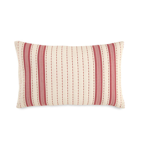 Alcott Pass Red Rice Stitch Quilted Stripe Decorative Pillow | Southern Tide