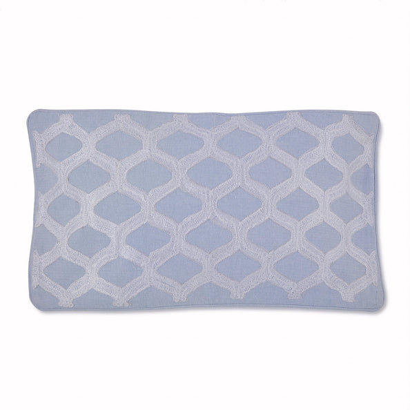Image of Sea Breeze Crewel Ogee Decorative Pillow