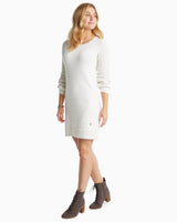 The front of the Women's Adrienne Metallic Sweater Dress by Southern Tide