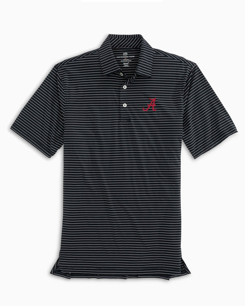 The front view of the Men's Black Alabama Crimson Tide BRRR® Striped Polo Shirt by Southern Tide