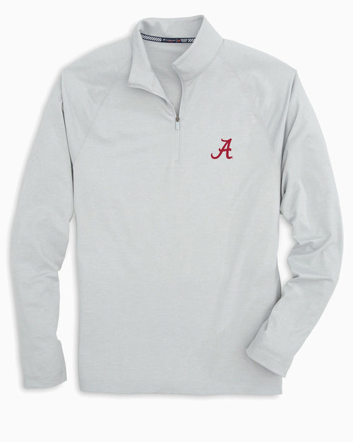 The front view of the Men's Grey Alabama Crimson Tide Lightweight Quarter Zip Pullover by Southern Tide