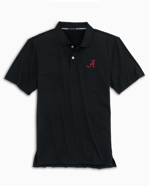 The back view and pocket detail of the Men's Black Alabama Crimson Tide Tonal Striped Polo Shirt by Southern Tide