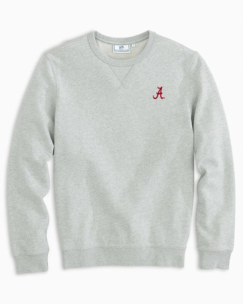 The front view of the Men's Grey Alabama Upper Deck Pullover Sweater by Southern Tide