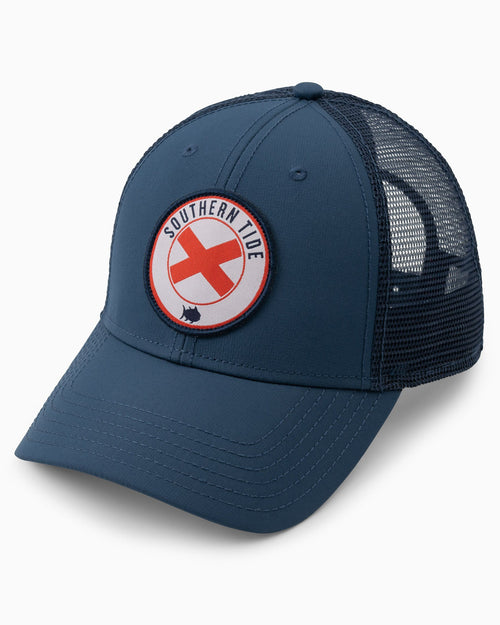The front view of the Men's Alabama Patch Performance Trucker Hat by Southern Tide