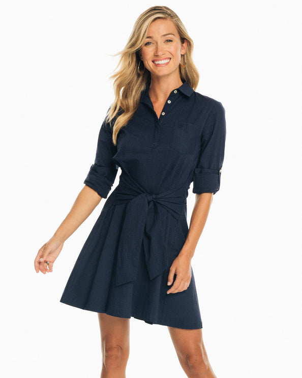 Aliyah Tie Waist Seersucker Shirt Dress