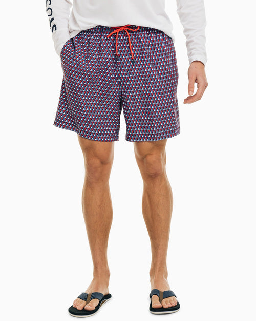 The front view of the Men's Red All at Sea Swim Trunk by Southern Tide