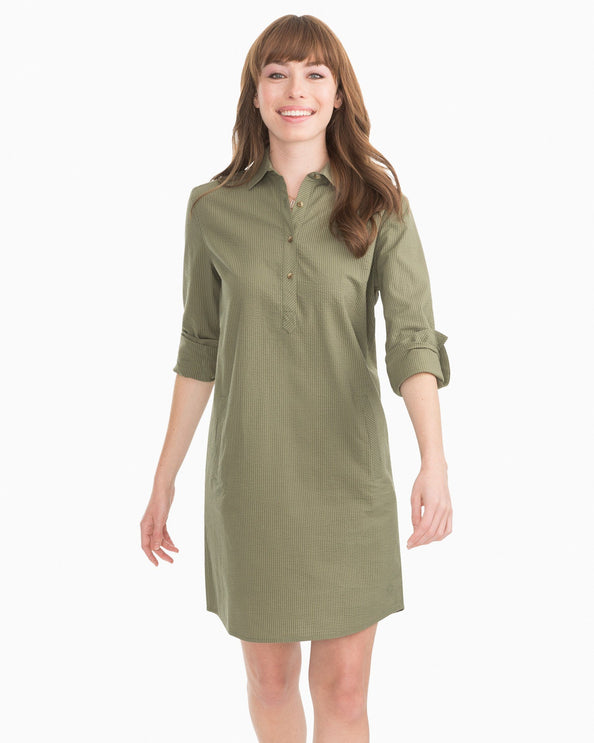Alyssa Seersucker Shirt Dress