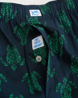The front view of the Men's Green Am I Turtle Enough? Boxer by Southern Tide