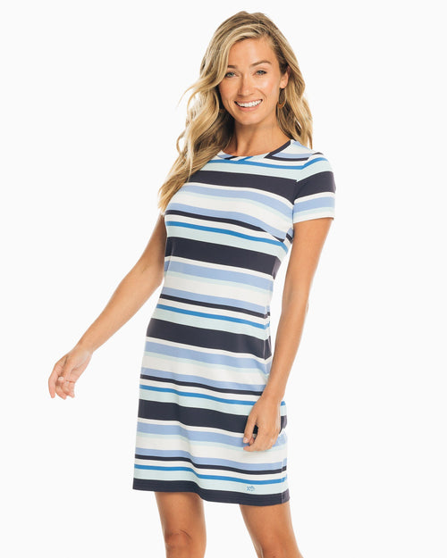 The front view of the Women's Blue Amelia Striped Performance Dress by Southern Tide