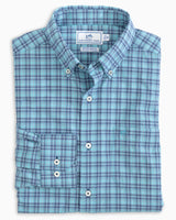 The folded view of the Men's Arenal Plaid Intercoastal Sport Shirt by Southern Tide