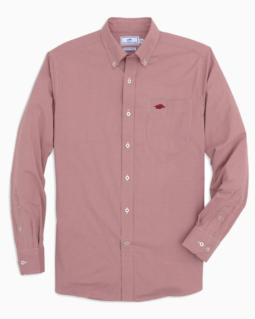 The front view of the Men's Red Arkansas Razorbacks Gingham Button Down Shirt by Southern Tide
