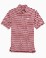 The front view of the Men's Red Arkansas Razorbacks Striped Polo Shirt by Southern Tide