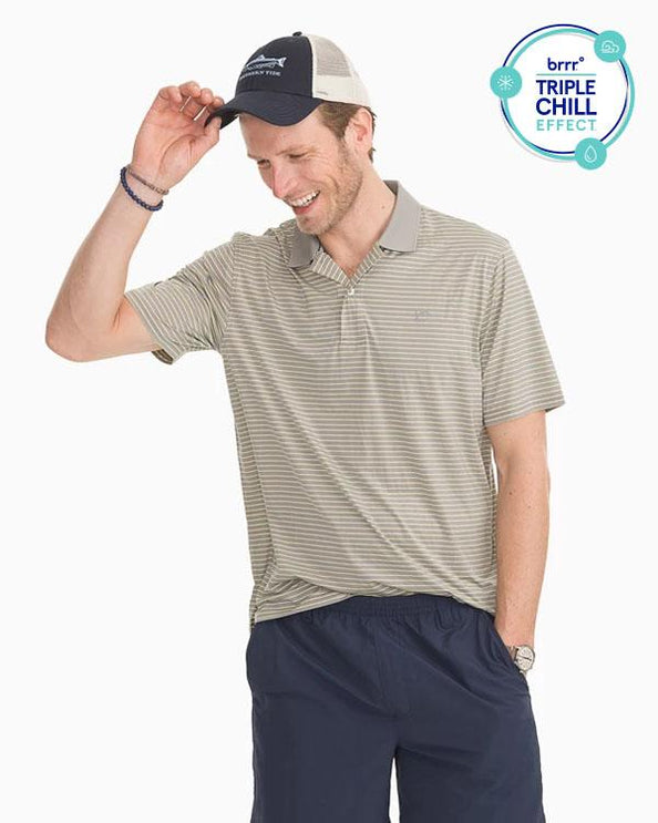 Barrier Striped Performance Polo Shirt