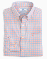 The folded view of the Men's Basin Minicheck Intercoastal Sport Shirt by Southern Tide