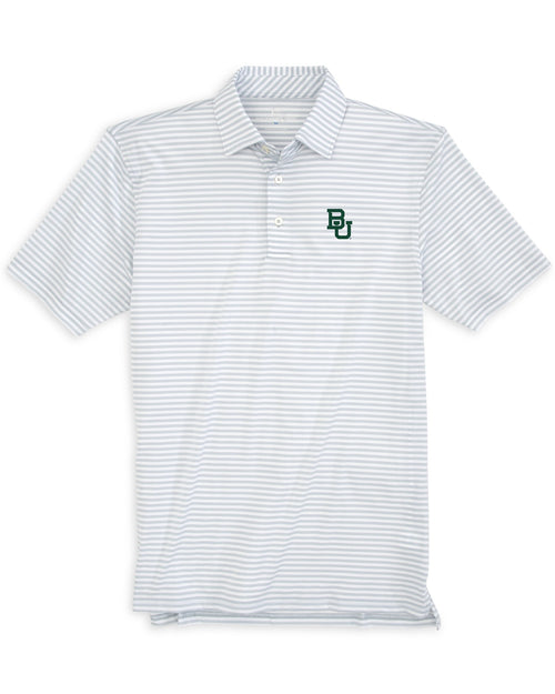 The front view of the Men's Grey Baylor Striped Polo Shirt by Southern Tide