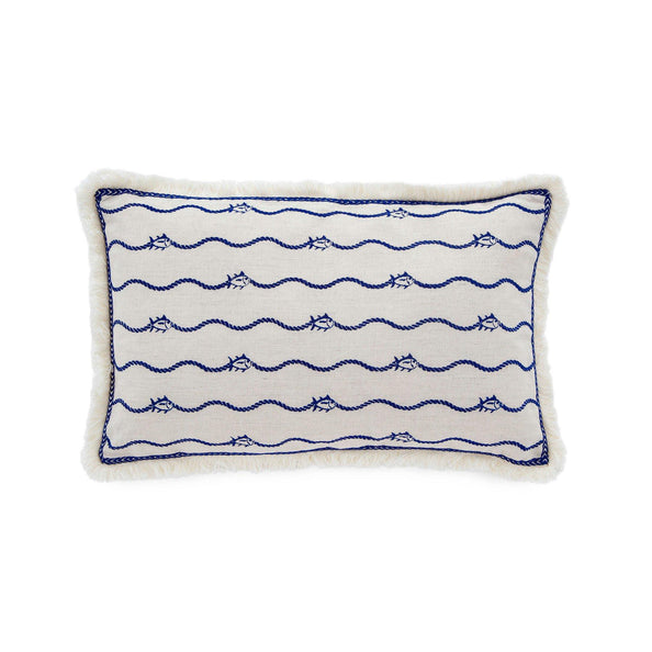 Bayside Embroidered Skipjack Throw Pillow