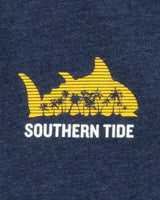 The back view of the Men's Navy Beach Sunset T-Shirt by Southern Tide