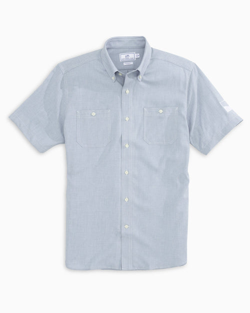 The front view of the Men's Grey Beneath The Waves Short Sleeve Dock Shirt by Southern Tide