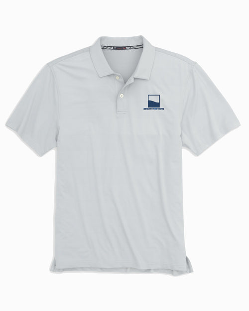 The front view of the Men's Grey Beneath The Waves Tonal Striped Polo Shirt by Southern Tide