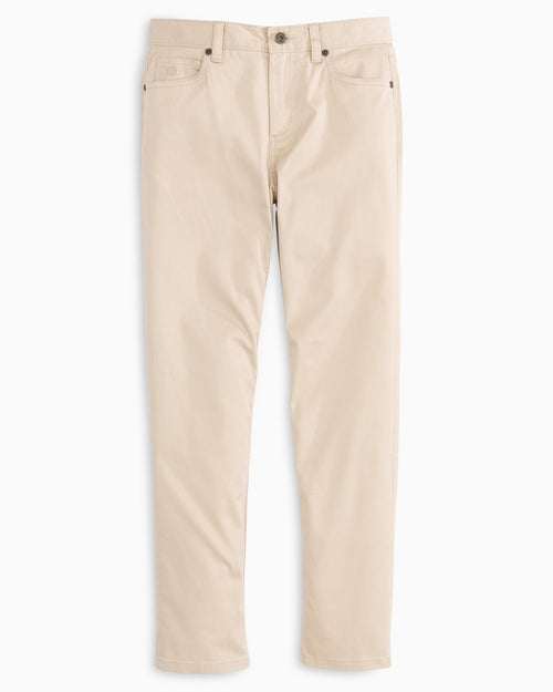 The front view of the Kid's Khaki 5-Pocket Pant by Southern Tide