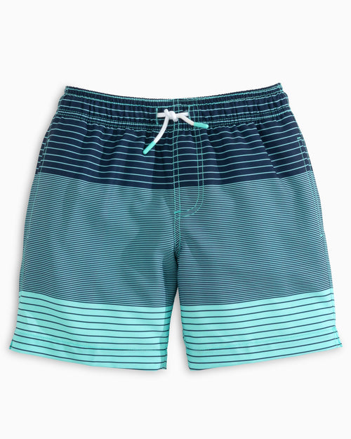 The front view of the Kid's Blue Blue Ombre Striped Swim Trunk by Southern Tide