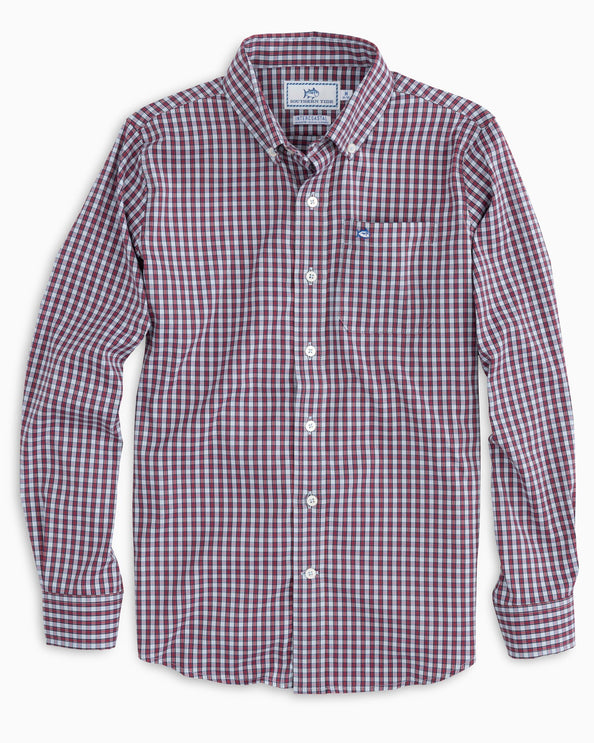 Boys Bluefin Intercoastal Check Button Down Shirt