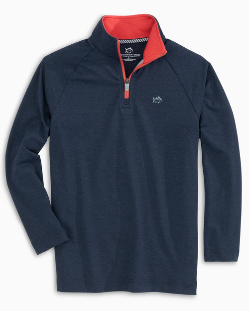 The front of the Boys Cruiser Quarter Zip Pullover by Southern Tide