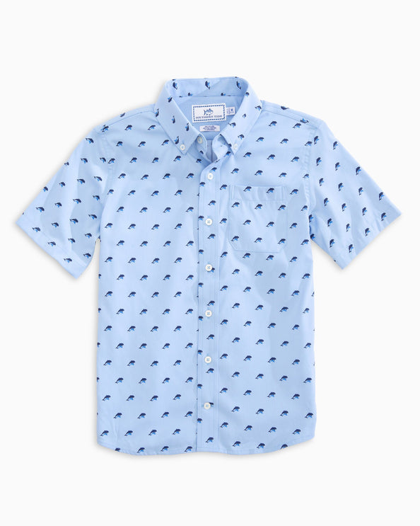 Boys Dolphin Print Intercoastal Short Sleeve Button Down Shirt