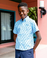 Boys Dolphin Print Short Sleeve Intercoastal Sport Shirt | Southern Tide