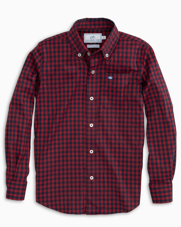 Boys Donner Intercoastal Gingham Button Down Shirt