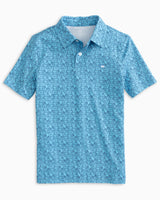 The front view of the Boys Driver Fresh to Depth Performance Polo Shirt by Southern Tide