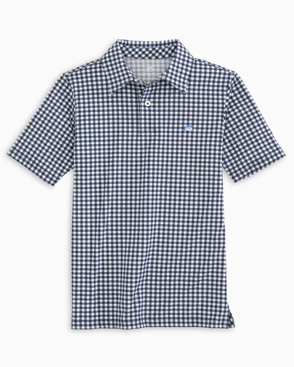 Boys Gingham Driver Performance Polo Shirt