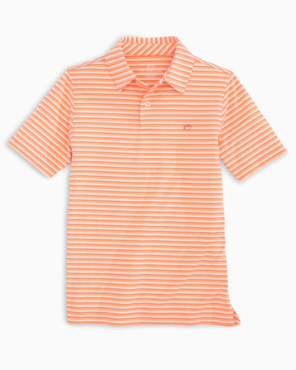 Boys Heather Striped Driver Performance Polo Shirt