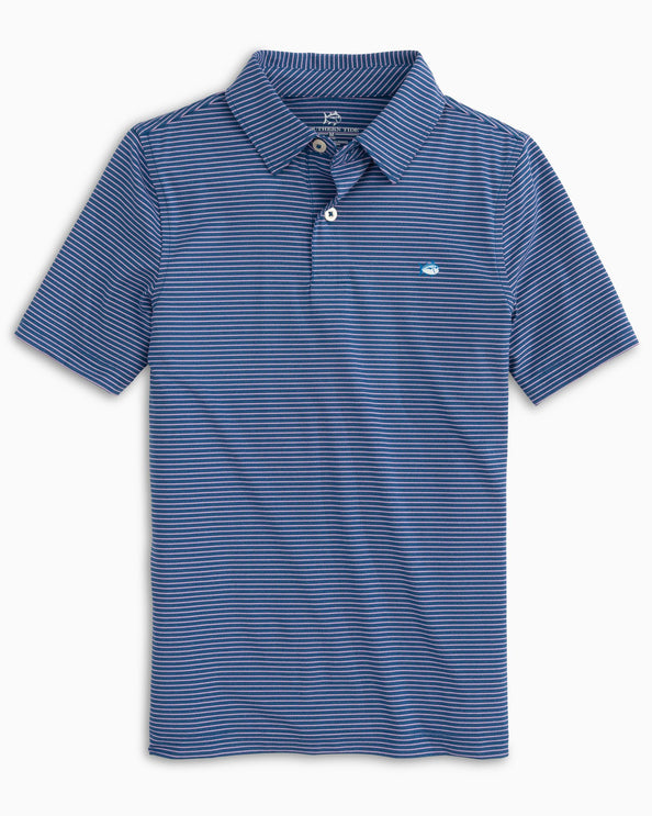 Boys Driver Montefuma Heather Striped Performance Polo Shirt