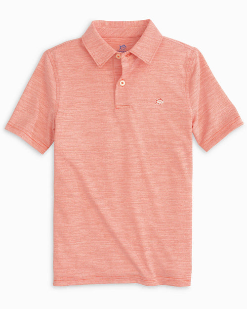 The front view of the Boys Driver Spacedye Performance Polo Shirt by Southern Tide
