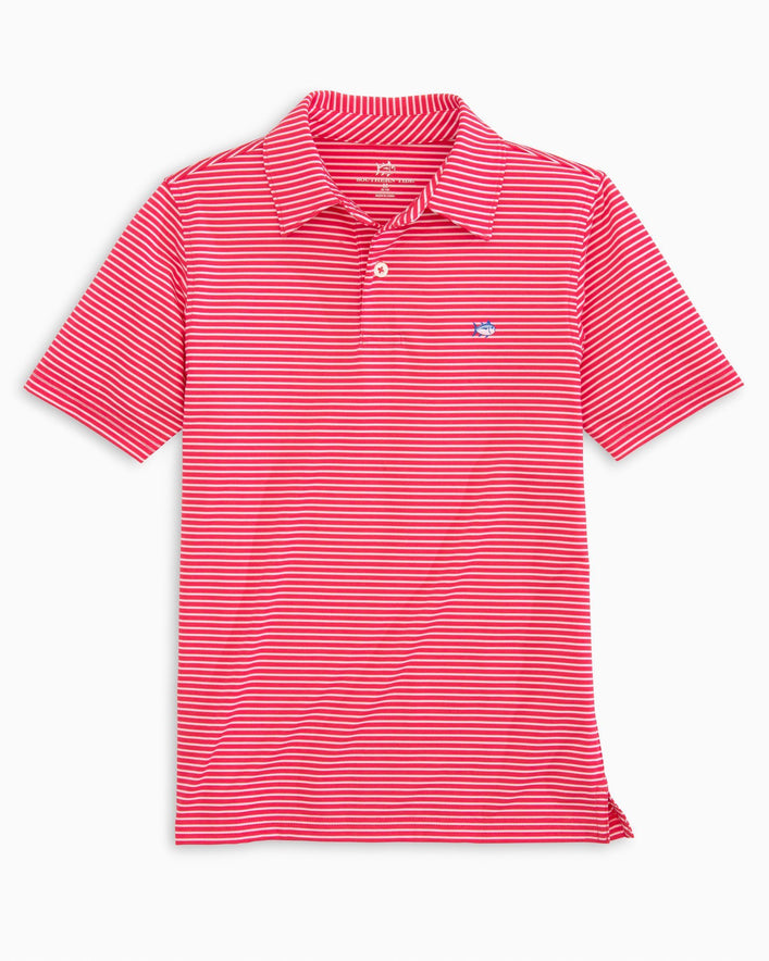 Boys Striped Driver Performance Polo Shirt
