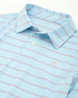 The front view of the Kid's Blue Driver Striped Performance Polo Shirt by Southern Tide