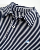 The front view of the Kid's Navy Striped Driver Performance Polo Shirt by Southern Tide