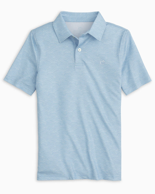 The front view of the Boys Driver Wave Print Performance Polo Shirt by Southern Tide