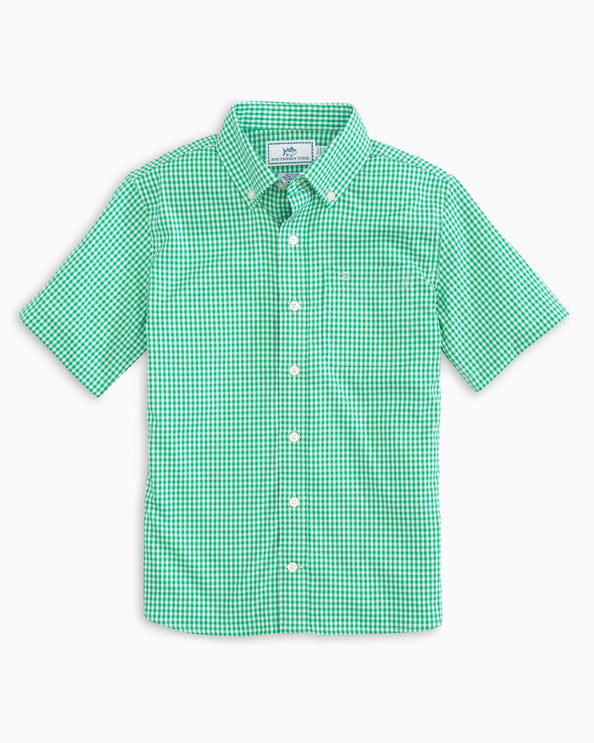 Boys Gingham Intercoastal Short Sleeve Button Down Shirt